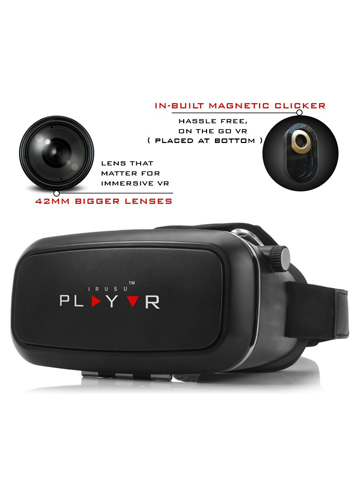 IRUSU PLAY VR headset - UPGRADED 42MM Fully Adjustable virtual reality  lenses with Magnetic Clicker - The best VR headset with HD Resin lenses