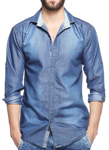 8c3f62714 Lafantar Men s Slim Fit Denim Shirt
