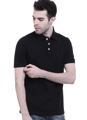 3cc87a84f05 CHKOKKO Three button Half sleeves tshirtz Black