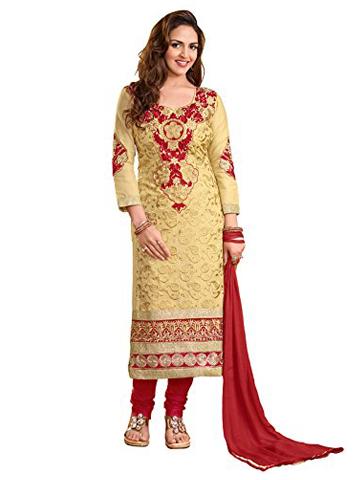 d93d7e965d Khushali Women Cotton Embroidered Unstitched Salwar Suit Dress Materials  (Beige) – Bishwa Bazaar
