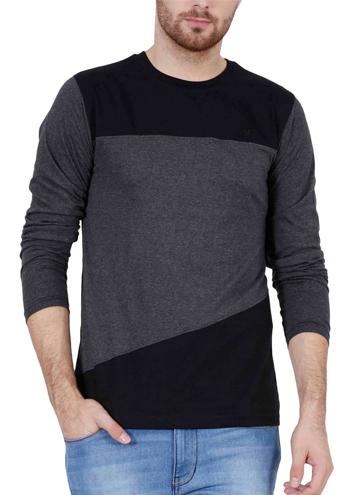 94ac117b9f6 Fashion Freak Full Sleeve T Shirt For Men Stylish Cross Pattern Style Grey  Black Colour