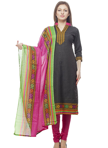 a23f9a0eb8 Divyaemporio Women'S Faux Cotton Black And Pink Salwar Suits Dress Material  – Bishwa Bazaar